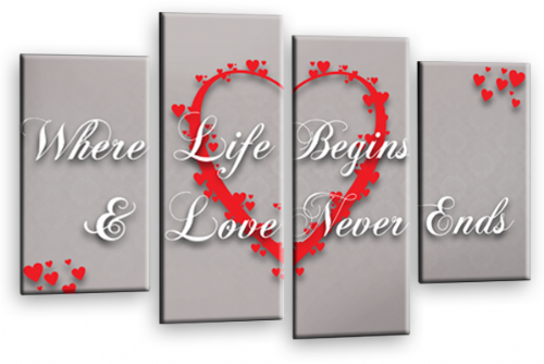 Love Heart Wall Art Picture Print Life Quote Powder Grey Red